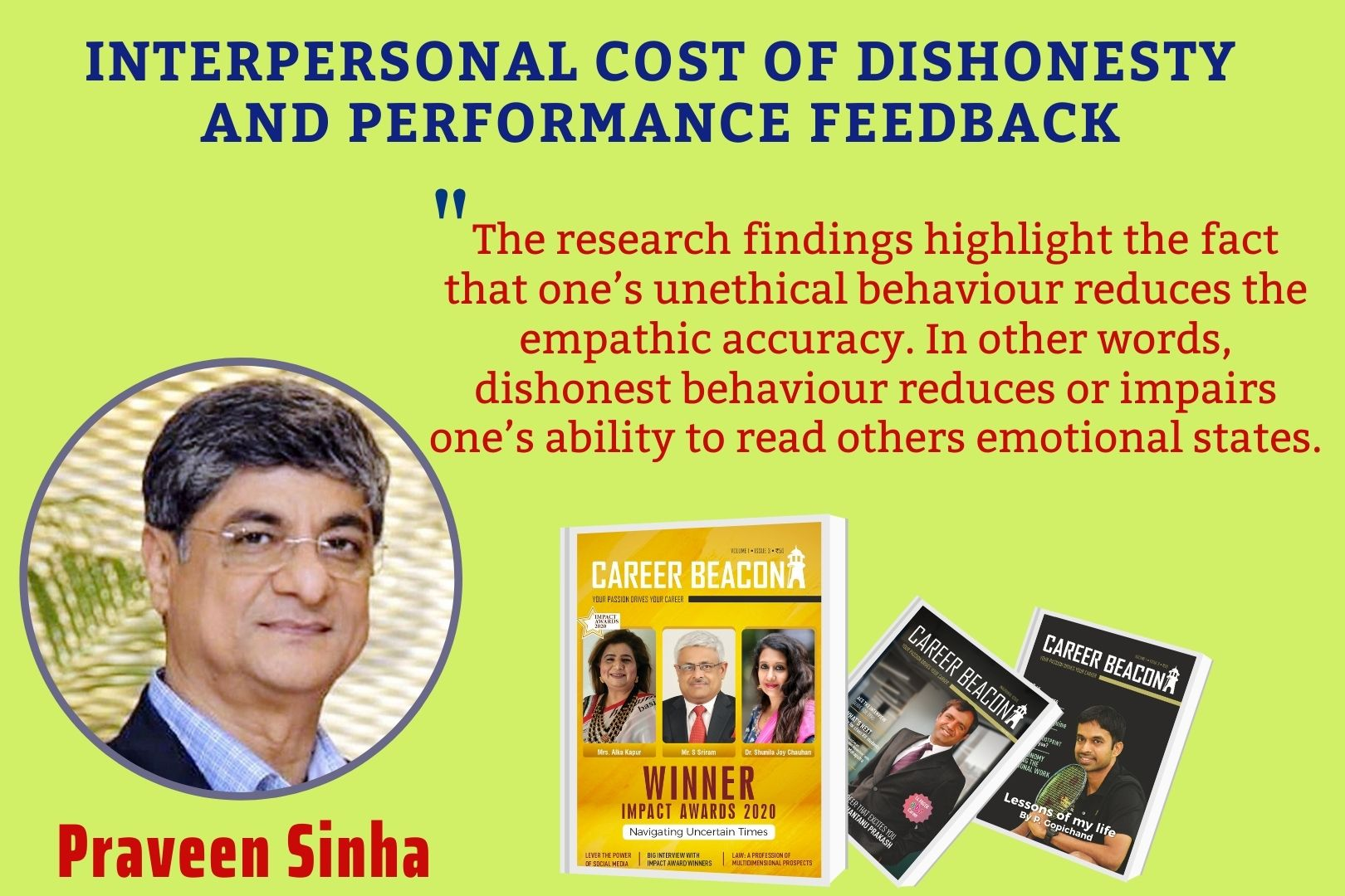 INTERPERSONAL COST OF DISHONESTY AND PERFORMANCE FEEDBACK